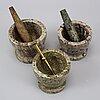 Three swedish green marble mortars and pestles, 20th century.