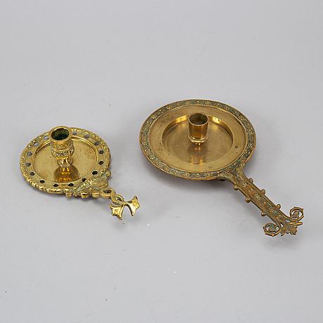 Two 19th century bronze night light holders.