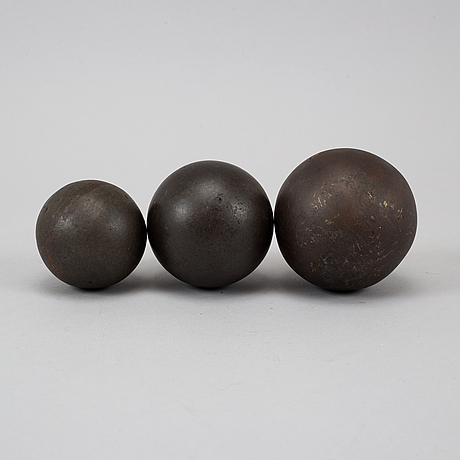 Three 19th century iron balls.