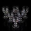 Six similar wine glasses, mid 19th century.