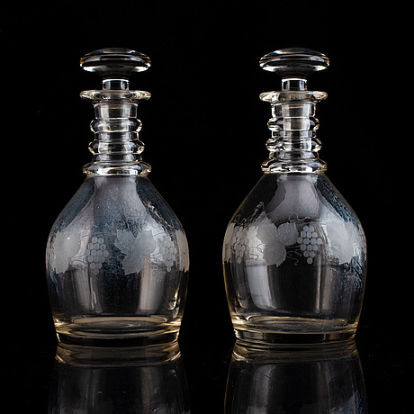 A pair of mid 19th century glass decanters and stoppers.