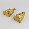 A pair of 19th century brass cutlery holders.