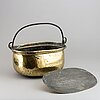 A brass lidded pan, 18th/19th century.