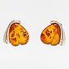 Zoltan popovits, a pair of sterling silver earrings with amber. lapponia.