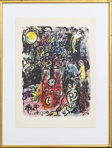 Marc chagall, colour lithographe, unsigned, from derrière le miroir no 119 1960.