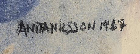 Anita nilsson, mided media signed 1967.