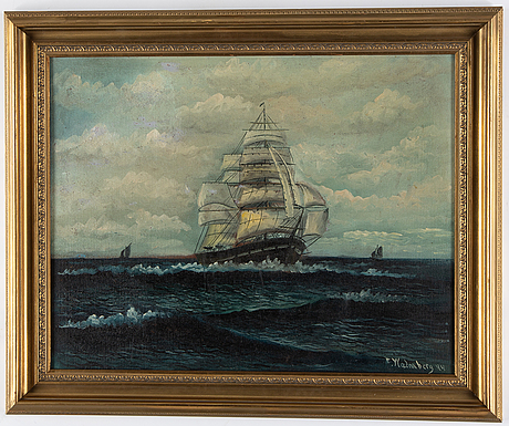 Thure malmberg, oil on panel, signed and dated -44.