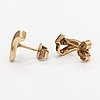 A pair of 14k gold earrings with diamonds ca. 0.04 ct in total.