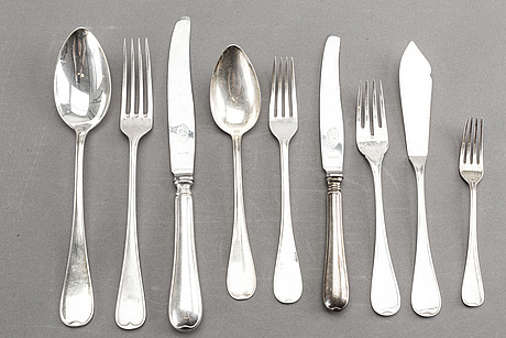 A swedish 20th century 94 pcs silver cutlery mark of gab and cg hallberg stockholm total weight ca 4920 gr.
