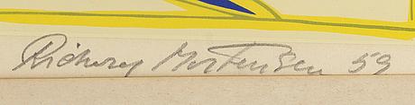 Richard mortensen, färgetsning signerad daterad och numrerad 59 27/100.