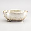 A swedis 20th century silver bowl mark of wa bolin  stockholm 1945, length 29, height 11 cm, weight 1160 gr.