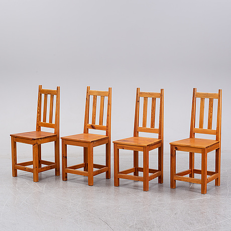 Roland wilhelmsson, four pinewood chairs.