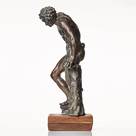 Sculpture, probably italy 18th century. satyr with cymbals.