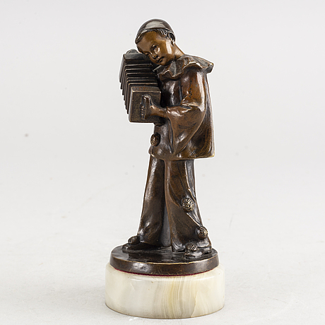 An early 20th century bronze with alabaster base by francizek jozef kucharzyk.