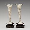 A pair of export silver vases by luen wo, shanghai, early 20th century.