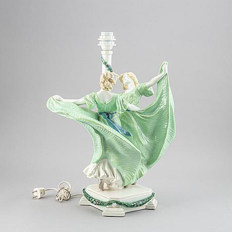 A rudolph podany ceramic table lamp, keramos-wiener keramik, vienna.