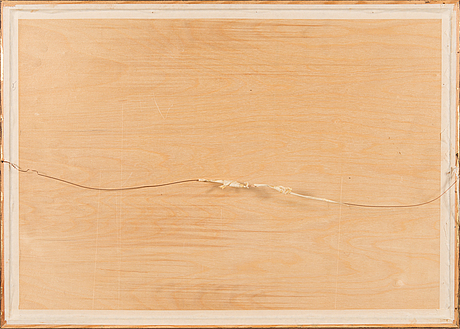 Birger kaipiainen, drawing, black ink on plywood, signed and dated -46.