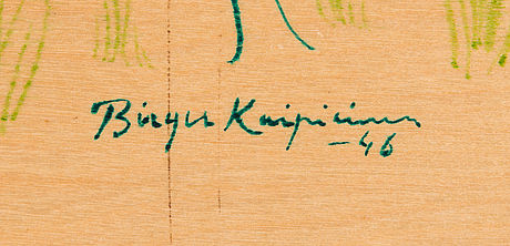 Birger kaipiainen, drawing, green ink on plywood, signed and dated -46.