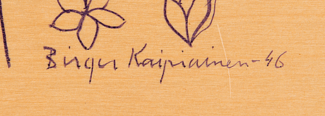 Birger kaipiainen, drawing, lilac ink on plywood, signed and dated -46.