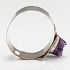 Helge narsakka, a silver bracelet with an amethyst. for kaunis koru. lahti 1963.