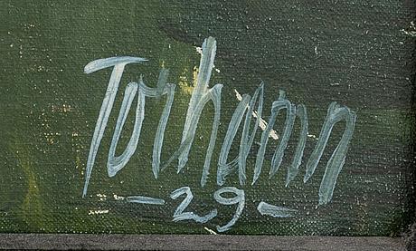 Gunnar torhamn, olja på duk, signerad och daterad -29.