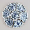 Seven blue and white cabaret dishes. qing dynasty, 19th century.