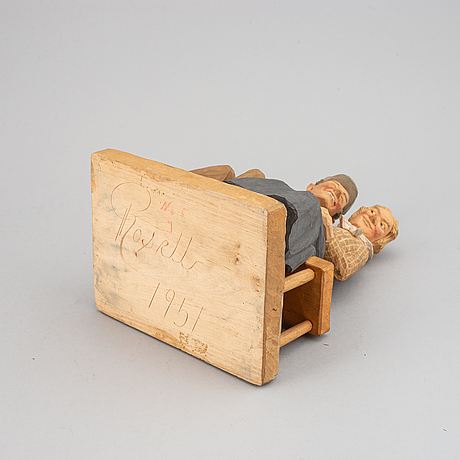 Herman rosell, sculpture, wood, signed and dated 1951.