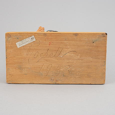 Herman rosell, sculpture, wood, signed and dated 1953.