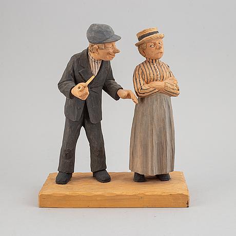 Herman rosell, skulptur, snidat och bemålat trä, signerad och daterad 1953.