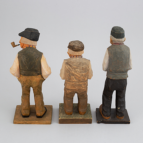 Herman rosell, sculptures, wood, 3, signed and dated 1927, 1930, 1934.