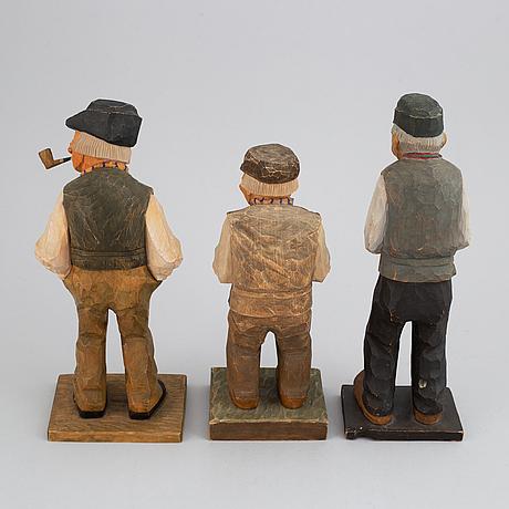 Herman rosell, skulpturer, 3 st, snidat och bemålat trä, signerade och daterade 1927, 1930, 1934.