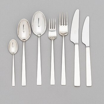 "Bertel Gardberg, A 42-piece set of ""Birgitta"" silver cutlery, marked BG, Hopeatehdas oy, Helsinki 1956-65."