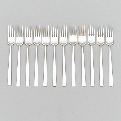 "Bertel gardberg, a 96-piece set of ""birgitta"" silver cutlery, marked bg, hopeatehdas oy, helsinki 1956-64."