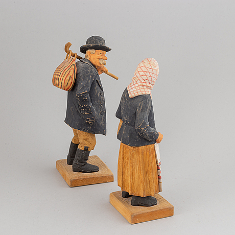 Herman rosell, sculptures, 2, wood, signed and dated 1960.