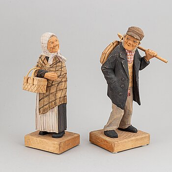 HERMAN ROSELL, sculptures, 2, wood, signed and dated 1956.