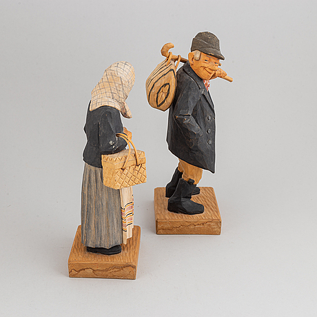 Herman rosell, sculptures, wood, 2, signed and dated 1957.
