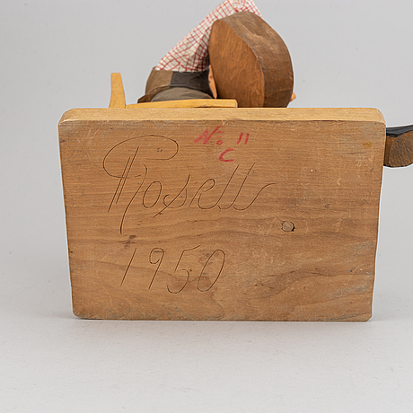 Herman rosell, sculpture, wood, signed and dated 1950.