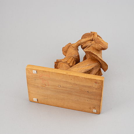 Herman rosell, sculpture, wood, signed 1939.