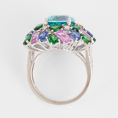Apatite, multi coloured sapphire and brilliant-cut diamond cocktail ring.