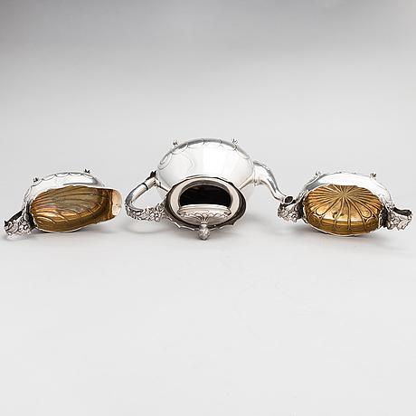 A 3-piece 1920s silver coffee set, mark of juho tepponen, helsinki 1923.