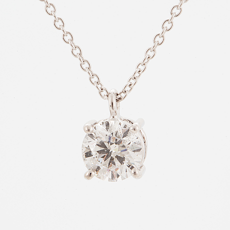 An 18k white gold necklace with a brilliant-cut diamond ca. 1.00 ct. with igi certificate.