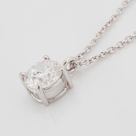 Kaulakoru, 18k valkokultaa, briljanttihiottu timantti n. 1.00 ct. igi todistuksella.