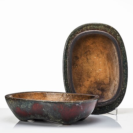 Hans hedberg, a faience bowl with cover, biot, france.