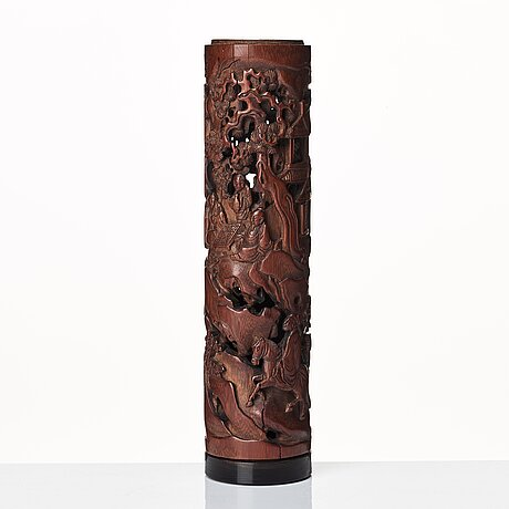 A carved cylindrical bambo parfumier, qing dynasty, 19th century.