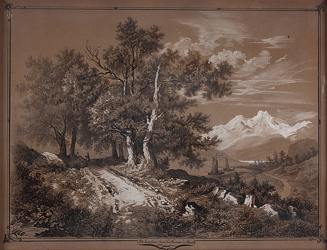 A pair of watercolours, around 1850 with period frames.
