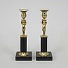 A pair of late gustavian candlesticks, circa 1800.