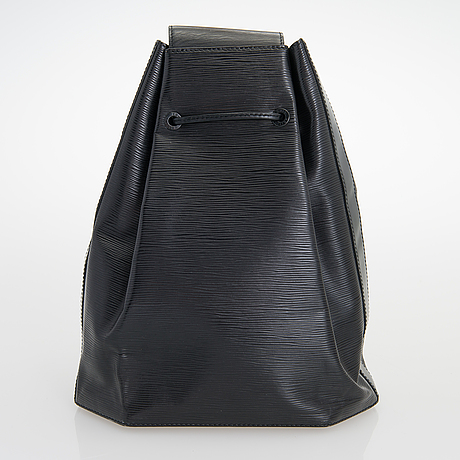 Louis vuitton, black epi leather 'sac a dos' drawstring bag.