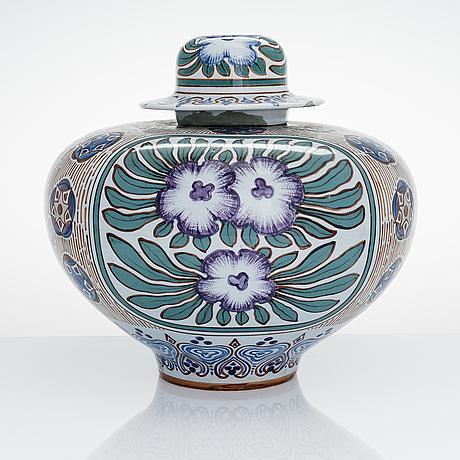 Thure Öberg, a ceramic urn for arabia, finland, signed t. Öberg arabia 1920.