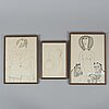 Vadim sidur, a set of 7 felt pen/ink drawings, signed and dated -70,  -74. -75, 78, -80.