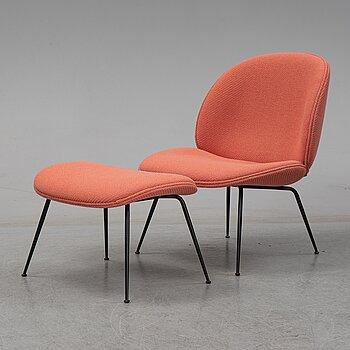 "GamFratesi, a ""Beetle Lounge chair"" with ottoman, Gubi, ca 2017."